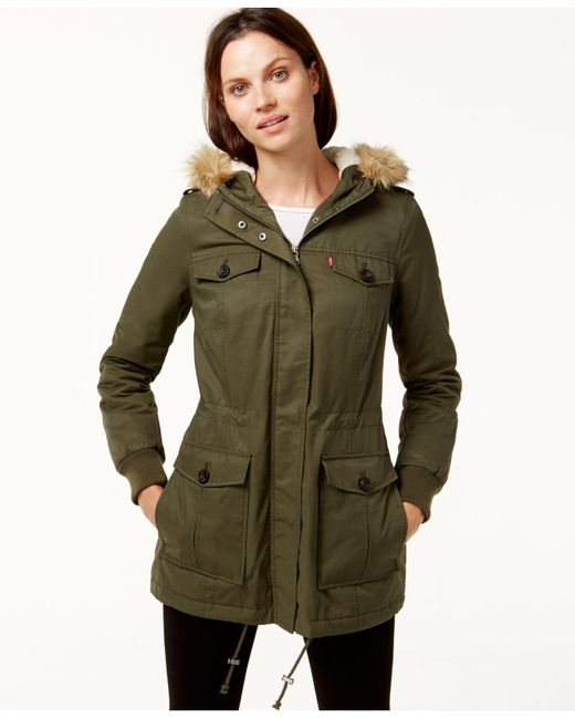 Levi's | Green Hooded Faux-fur Sherpa-lined Jacket | Lyst