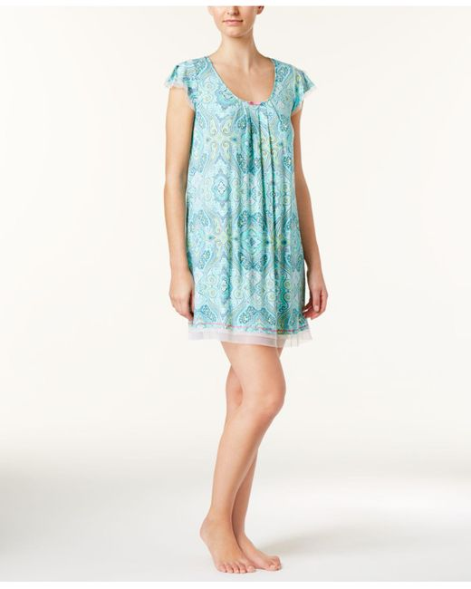 Ellen Tracy | Blue Mesh-trimmed Printed Knit Nightgown | Lyst