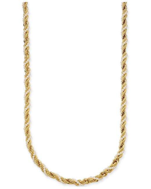 "Charter Club - Metallic Gold-tone Imitation Pearl And Rope Chain Twist Statement Necklace, 36"" + 2"" Extender, Created For Macy's - Lyst"