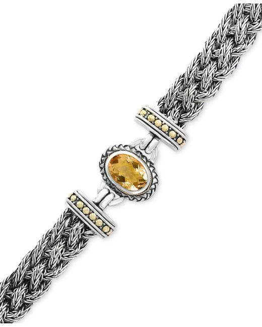 Effy Collection - Metallic Citrine Braided Bracelet (5-3/8 Ct. T.w.) In Sterling Silver & 18k Gold - Lyst