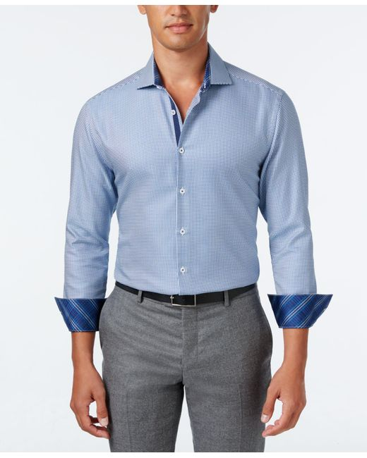 Michelsons of london of london men 39 s slim fit navy for Best untucked shirts for men
