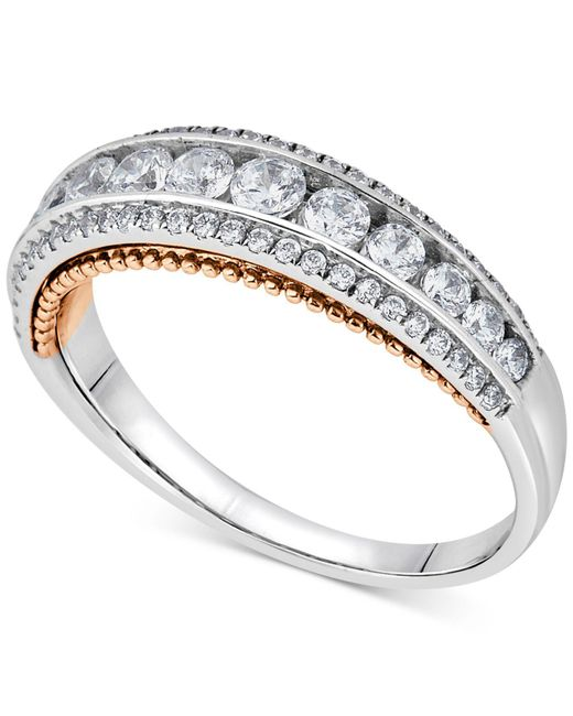 Macy's - Metallic Diamond Two-tone Ring (3/4 Ct. T.w.) In 14k White And Rose Gold - Lyst