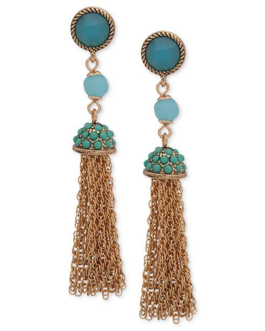 Anne Klein - Metallic Gold-tone Stone & Bead Chain Tassel Drop Earrings - Lyst