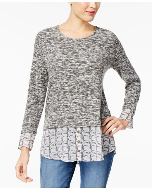 Style & Co. | Gray Petite Space-dyed Woven-hem Top | Lyst