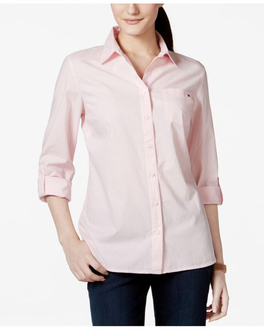 Tommy Hilfiger - Pink Cotton Roll-tab Shirt - Lyst