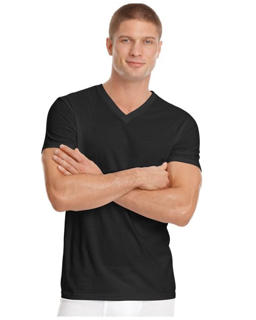 Calvin Klein | Black Men's Big And Tall Classic V-neck T-shirt 2 Pack Nu8581 for Men | Lyst
