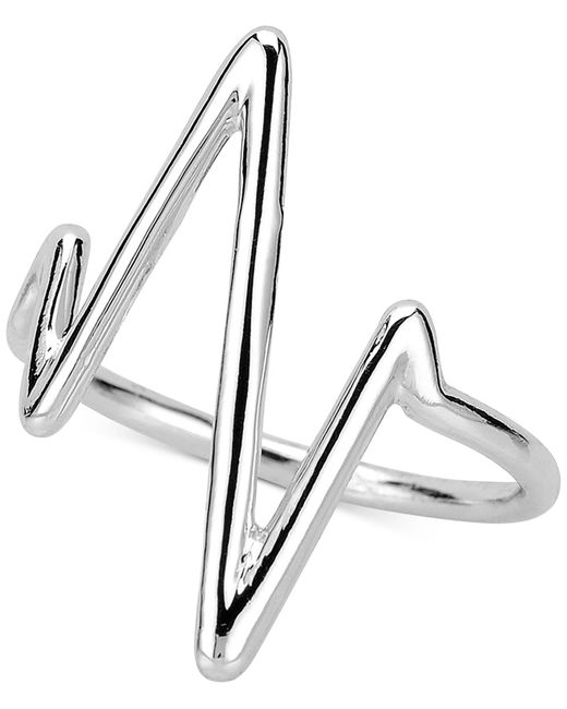 Sarah Chloe - Metallic Heartbeat Ring In Sterling Silver Or 14k Gold-plated Sterling Silver - Lyst