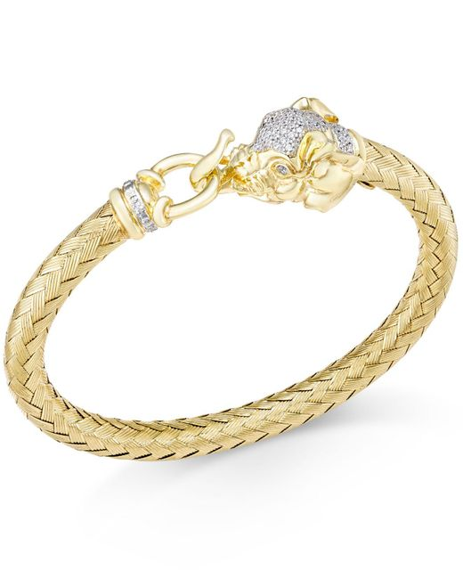Macy's | Metallic Diamond (1/4 Ct. T.w.) And Emerald Accent Elephant Mesh Bangle Bracelet In 14k Gold-plated Sterling Silver | Lyst