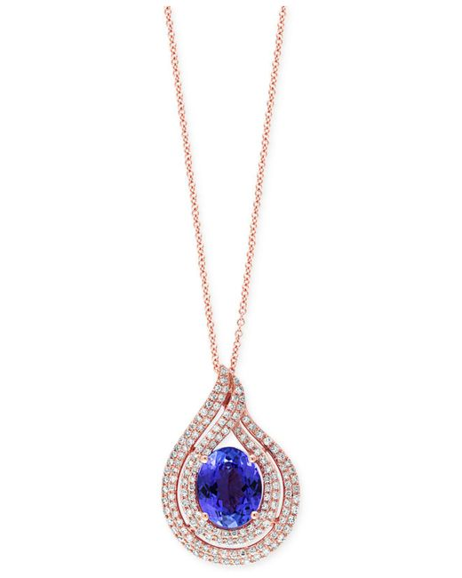 Effy Collection - Pink Tanzanite (2-5/8 Ct. T.w.) And Diamond (1/2 Ct. T.w) Swirl Pendant Necklace In 14k Rose Gold - Lyst