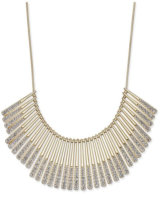 INC International Concepts - Metallic Gold-tone Pavé Statement Necklace - Lyst