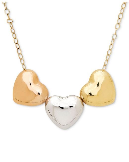 Macy's | Metallic Tri-color Polished Heart Pendant Necklace In 10k Gold, White Gold & Rose Gold | Lyst