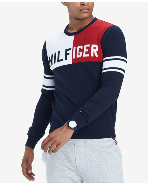 Tommy Hilfiger - Blue Big & Tall Bedford Colorblocked Sweater, Created For Macy's for Men - Lyst