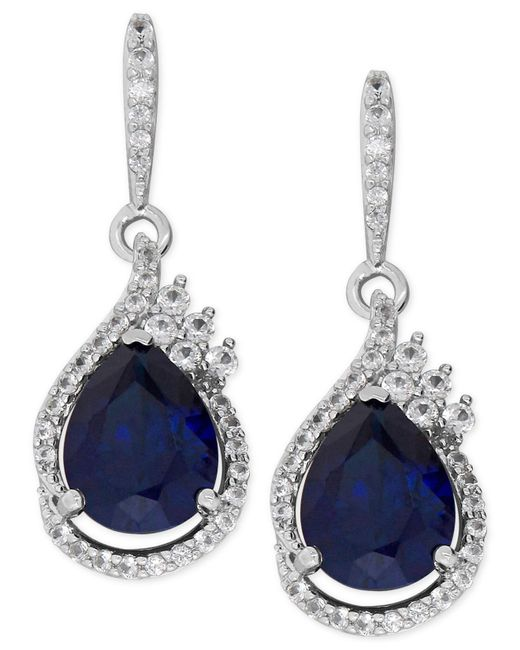 Macy's | Metallic Lab-created Blue Sapphire (4-5/8 Ct. T.w.) And White Sapphire (1/2 Ct. T.w.) Drop Earrings In Sterling Silver | Lyst