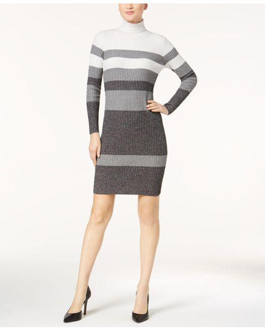 Lyst Calvin Klein Metallic Striped Turtleneck Sweater Dress In Gray