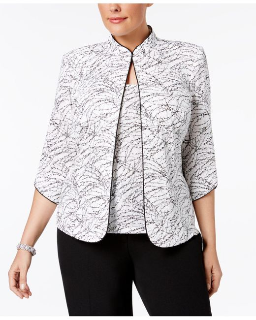 Alex Evenings - White Plus Size Printed Mandarin Jacket And Top - Lyst