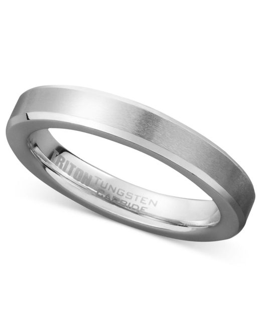 Triton - Metallic Men's White Tungsten Carbide Ring, Wedding Band (3mm) for Men - Lyst