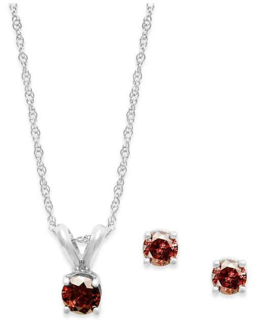 Macy's - 10k White Gold Red Diamond Necklace And Earring Set (1/5 Ct. T.w.) - Lyst
