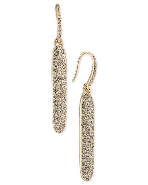 ABS By Allen Schwartz | Metallic Gold-tone Pavé Linear Drop Earrings | Lyst