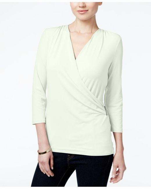 Charter Club | Green Petite Crossover Wrap Top, Only At Macy's | Lyst