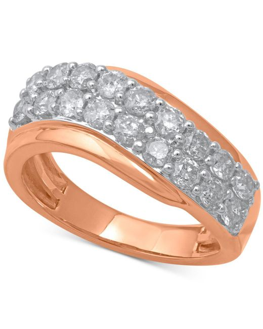 Macy's - Metallic Diamond Swirl Band (1-1/3 Ct. T.w.) In 14k Rose Gold - Lyst