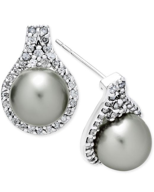 Macy's | Metallic Cultured Tahitian Pearl (9mm) And Diamond (5/8 Ct. T.w.) Drop Earrings In 14k White Gold | Lyst