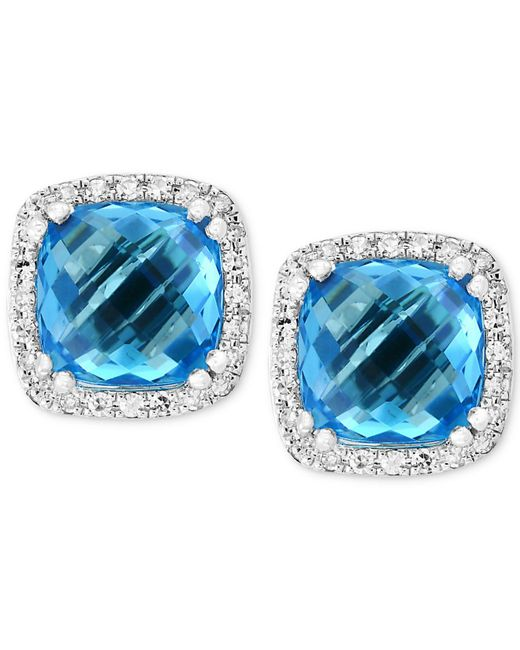 Effy Collection - Effy® Blue Topaz (4-1/3 Ct. T.w.) & Diamond (1/6 Ct. T.w.) Halo Stud Earrings In 14k White Gold - Lyst