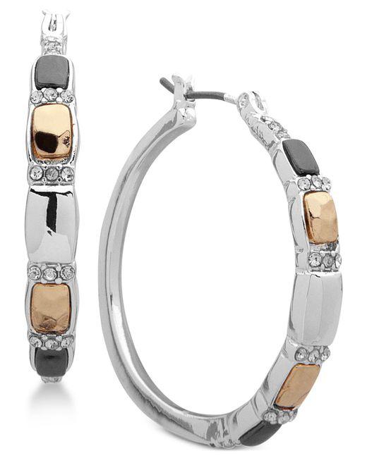Nine West - Multicolor Tri-tone Crystal Hoop Earrings - Lyst