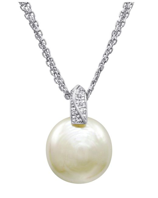 Majorica - White Pearl Necklace, Sterling Silver And Organic Man Made Pearl Pendant With Cubic Zirconia Accents - Lyst