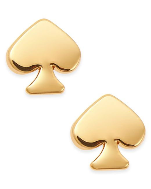 Kate Spade | Metallic Signature Spade Gold-tone Stud Earrings | Lyst