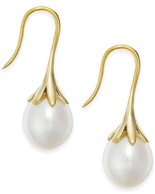 Macy's | Metallic Cultured Freshwater Pearl Drop Earrings 14k White Or Yellow Gold | Lyst