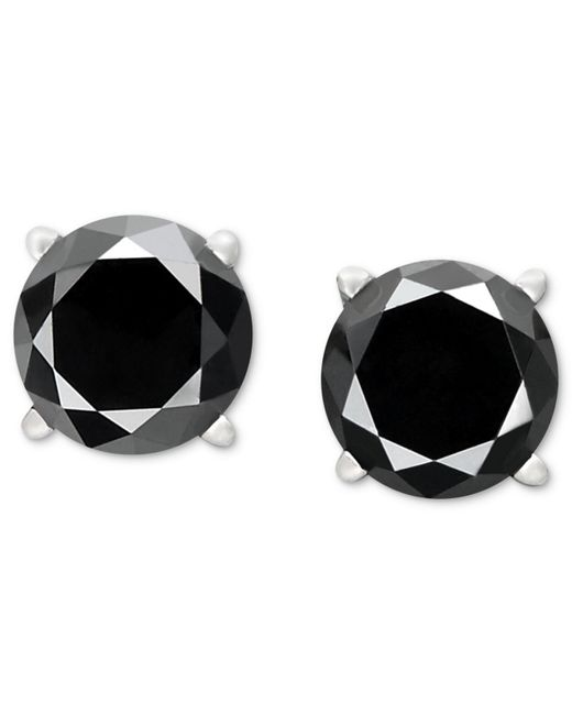 Macy's - Metallic Black Diamond Stud Earrings In 14k White Gold (1-1/2 Ct. T.w.) - Lyst