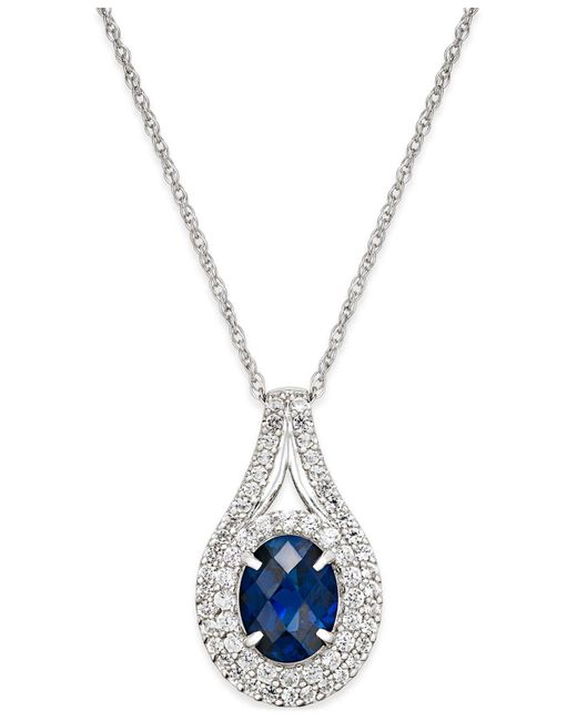 Macy's - Metallic Lab-created Sapphire (2 Ct. T.w.) And White Sapphire (3/4 Ct. T.w.) Pendant Necklace In Sterling Silver - Lyst