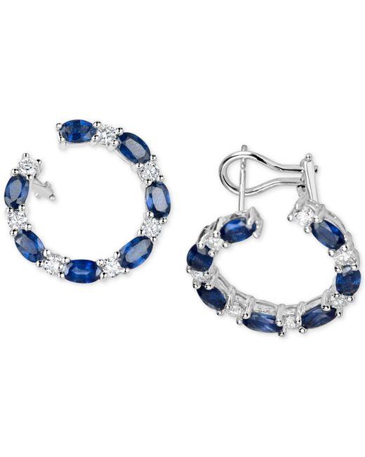 Macy's - Multicolor Sapphire (4-5/8 Ct. T.w.) & Diamond (1 Ct. T.w.) Circular Drop Earrings In 14k White Gold - Lyst