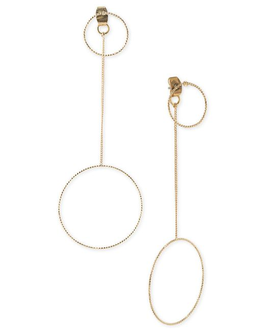 ABS By Allen Schwartz - Metallic Gold-tone Circle Drop Front And Back Earrings - Lyst