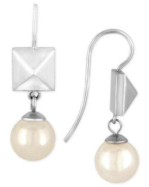 Majorica | Metallic Silver-tone Imitation Pearl And Pyramid Stud Drop Earrings | Lyst