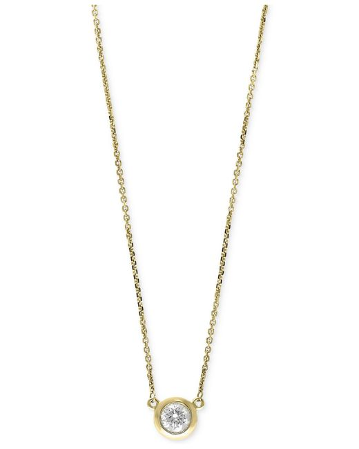 Effy Collection - Metallic Diamond Bezel Pendant Necklace (3/8 Ct. T.w.) In 14k White, Yellow, Or Rose Gold - Lyst