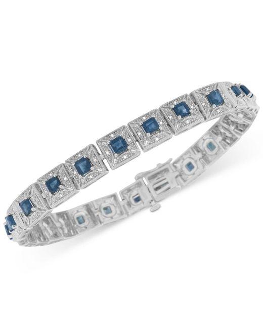 Macy's - Multicolor Sapphire (3-5/8 Ct. T.w.) And Diamond (1/5 Ct. T.w.) Tennis Bracelet In Sterling Silver - Lyst