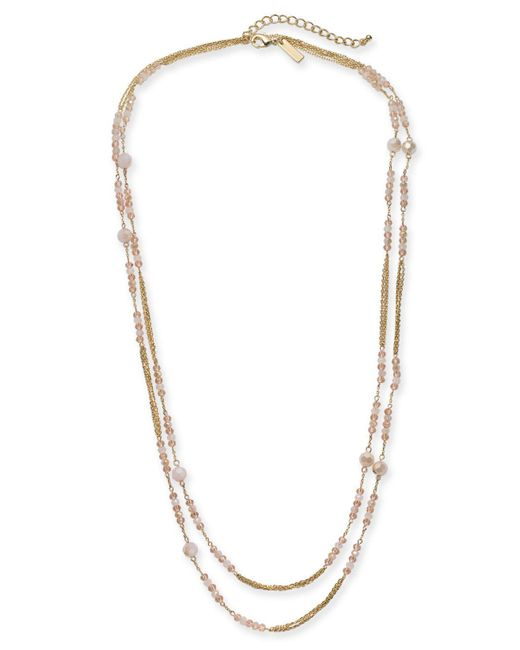 "INC International Concepts - Pink I.n.c. Gold-tone Beaded Double Long Layer Necklace, 60"" + 3"" Extender, Created For Macy's - Lyst"