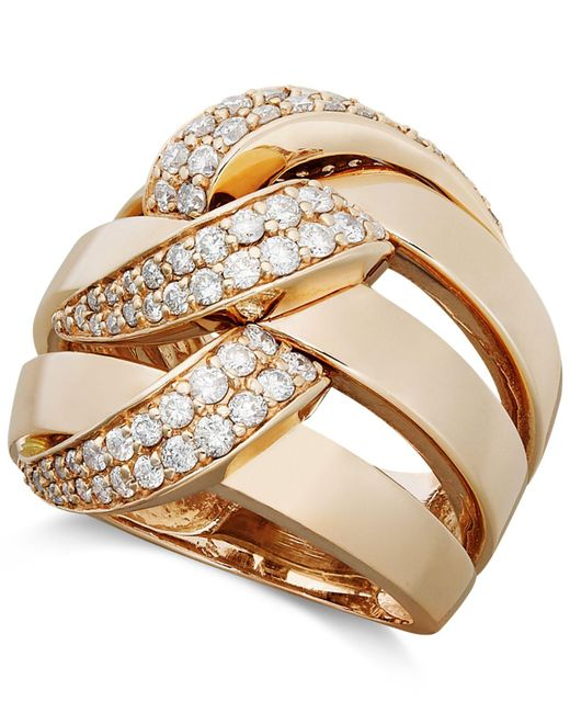 Effy Collection | Metallic Diamond Three Row Link Ring (1 Ct. T.w.) In 14k Rose Gold | Lyst