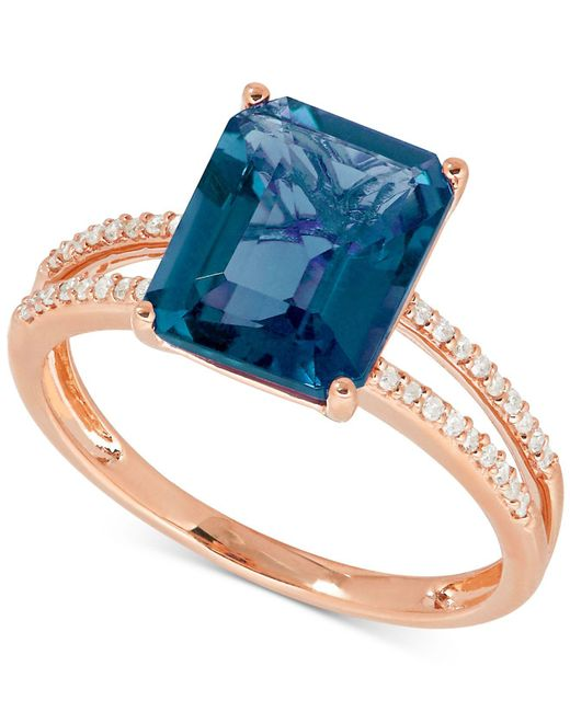 Macy's | Blue Topaz (4 Ct. T.w.) And Diamond (1/10 Ct. T.w.) Ring In 14k Rose Gold | Lyst