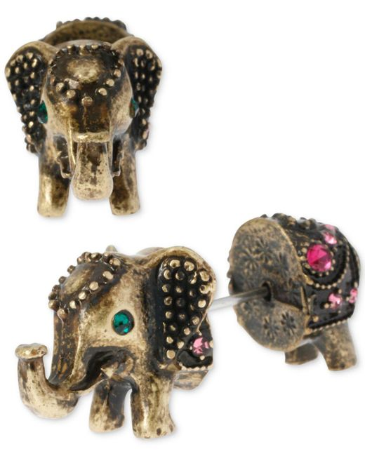 Betsey Johnson | Metallic Brass-tone Elephant Front-back Stud Earrings | Lyst