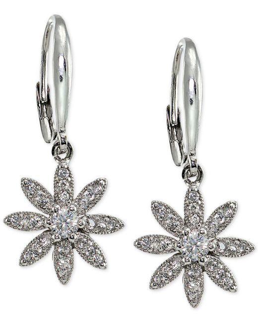 Macy's - Metallic Cubic Zirconia Pavé Flower Drop Earrings In Sterling Silver - Lyst