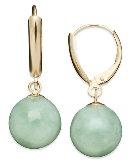 Macy's - Metallic 14k Gold Earrings, Jade Bead Drop Earrings - Lyst