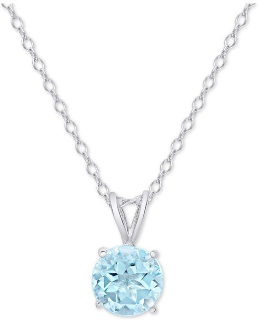 """Macy's - Metallic Blue Topaz Solitaire 18"""" Pendant Necklace (3/4 Ct. T.w.) In Sterling Silver - Lyst"""