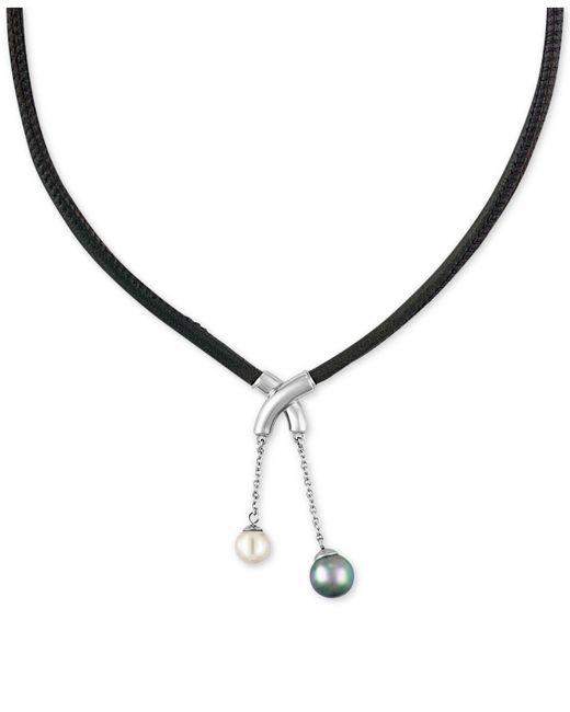 Majorica - Metallic Silver-tone Imitation Pearl Black Leather Pendant Necklace - Lyst