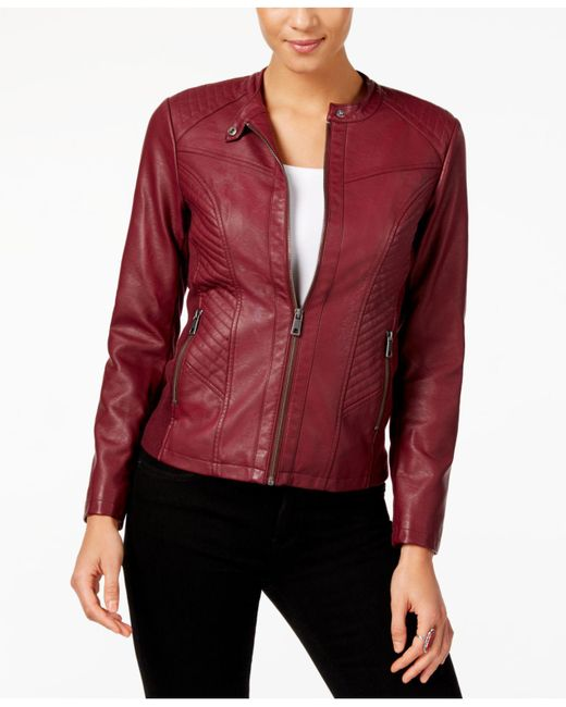 Style & Co. | Red Faux-leather Moto Jacket | Lyst