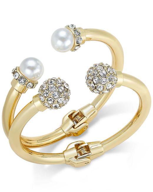 INC International Concepts   Pink Imitation Pearl And Crystal Fireball Hinge Bracelet Set   Lyst