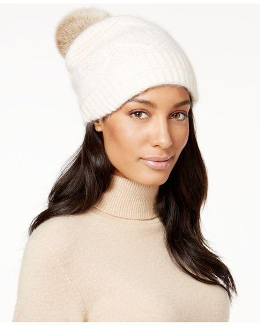 Surell   White Slouchy Knit Rabbit Fur Pom Beanie   Lyst
