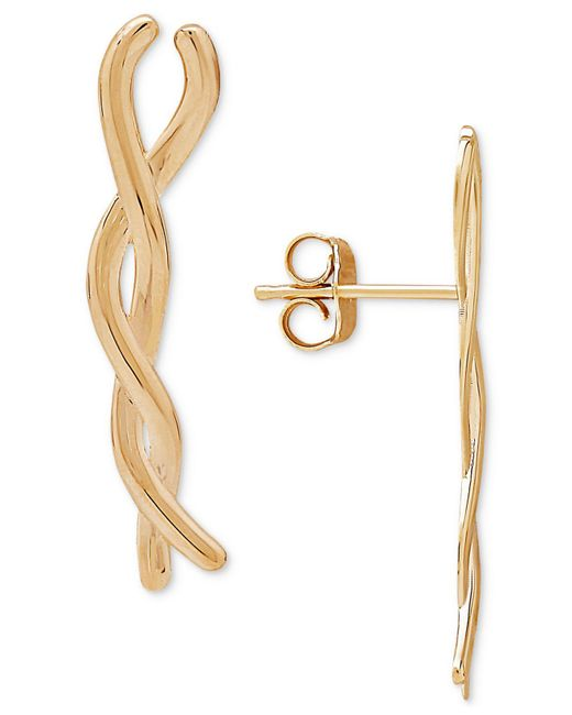 Macy's - Metallic Twisted Bar Ear Climbers In 10k Gold - Lyst