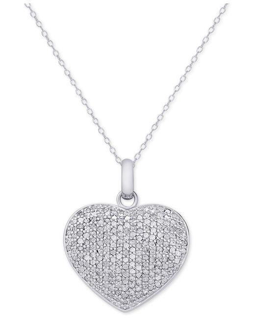 Macy's | Metallic Diamond Pavé Heart Locket Pendant Necklace (2 Ct. T.w.) In Sterling Silver | Lyst